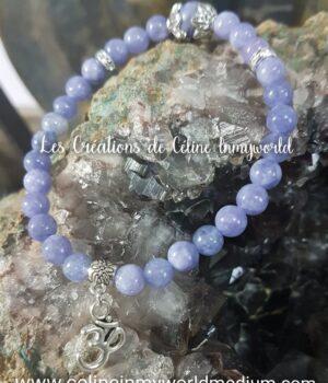 Bracelet AUM en Angélite violette (Anhydrite)