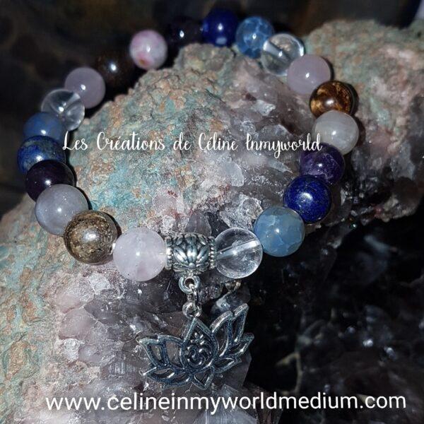Bracelet Chemin de vie (personnalisé) avec Fleur de Lotus et Aum