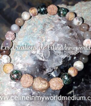 Bracelet Chemin de vie (personnalisé) en Graines de Rudraksha (Bodhi), etc...