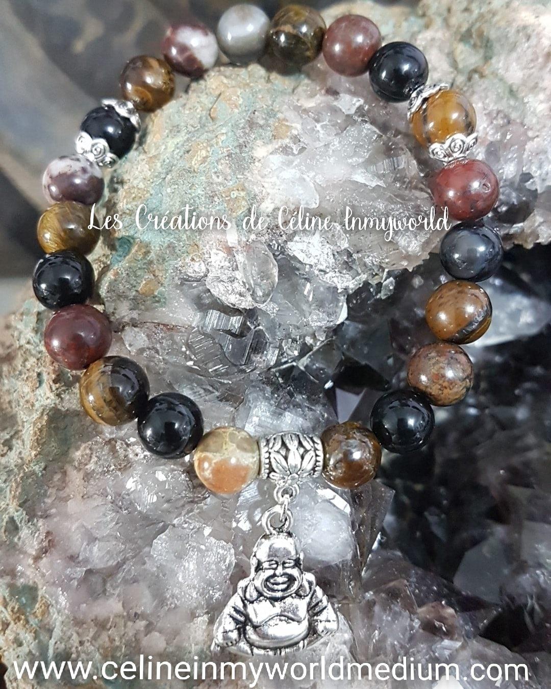 Bracelet seul Chemin de vie (personnalisé) en Œil-de-tigre, Agate noire et blanche et Jaspe rouge avec Bouddha