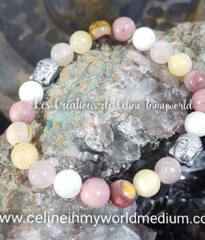 Bracelet Chemin de vie (personnalisé) en Quartz rose, Jade jaune, Mookaïte, Rhodonite et Pierre de lune avec Bouddha en hématite plaquée argenté