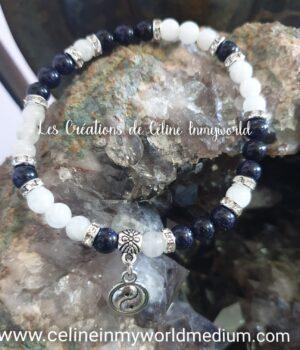 Bracelet seul Yin & Yang en Pierre de nuit et Pierre de Lune pour améliorer ses capacités