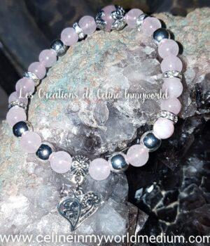 Bracelet Cœur en Quartz rose avec perles d'Hématite plaquée argenté