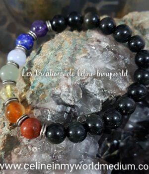 Bracelet de protection, 7 chakras en Obsidienne arc-en-ciel, pour la clairvoyance