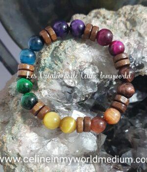 Bracelet de protection 7 chakras en Oeil-de-tigre et Oeil-de-taureau