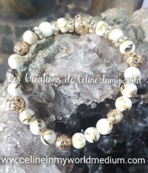 Bracelet en Howlite avec incrustations d'Abalone et Pierre de lave plaquée dorée