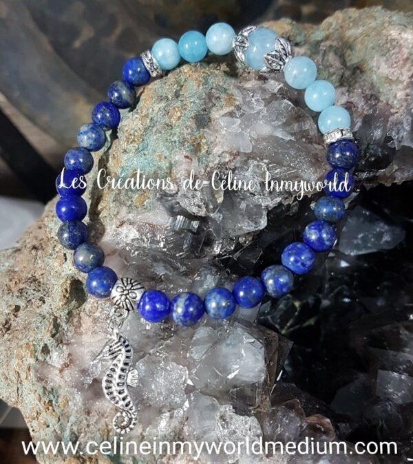Bracelet en Lapis-lazuli et Aigue-marine avec Hippocampe