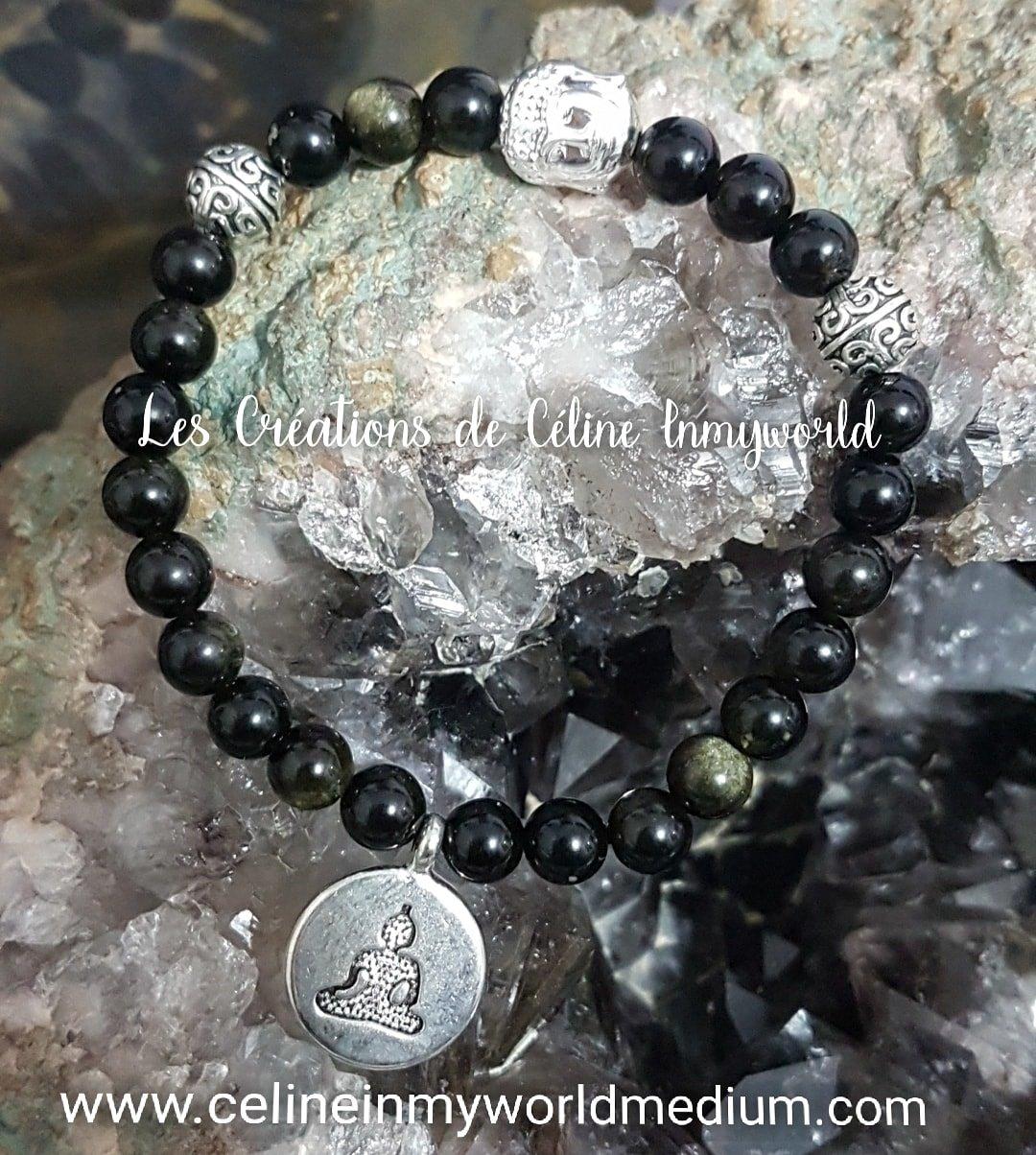 Bracelet en Obsidienne dorée avec perle Bouddha en Hématite plaquée argenté