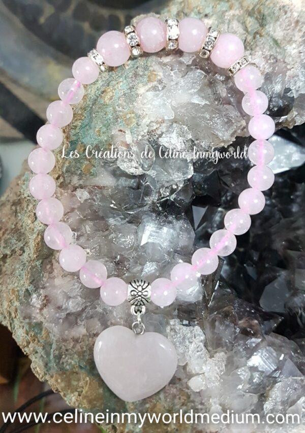 Bracelet en Quartz rose avec coeur pour l'amour