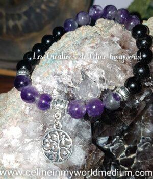 Bracelet en Tourmaline noire et Améthyste avec Arbre de vie