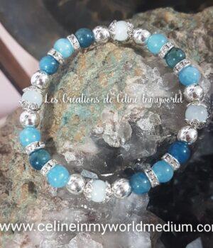 Bracelet en aigue-marine et apatite bleue (pour le chakra de la gorge) et perles d'hématite plaquées argent