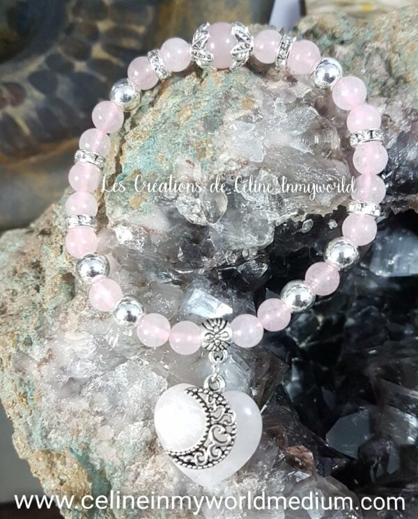 Bracelet lune et cœur en Quartz rose avec perles d'Hématite plaquée argenté