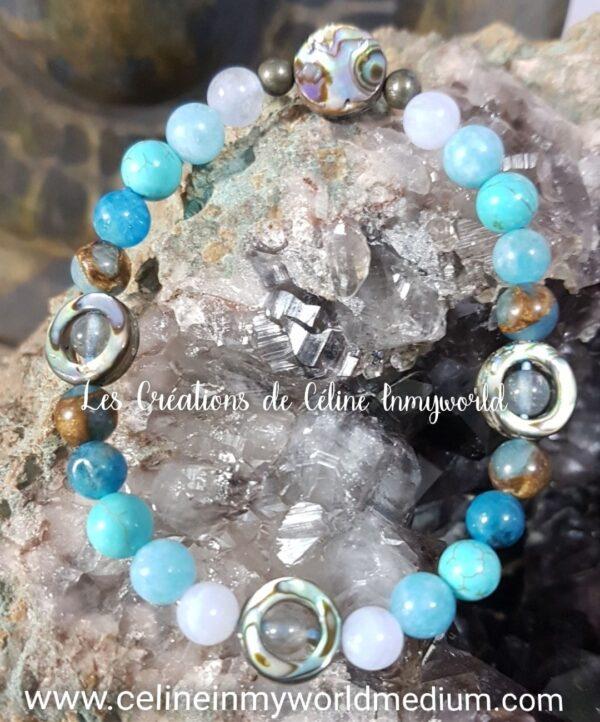 Bracelet personnalisé, chakra de la gorge en Abalone, Labradorite spectrolite, Apatite bleue, Aigue-marine, Turquoise, Anhydrite (Angélite violette) et Pyrite