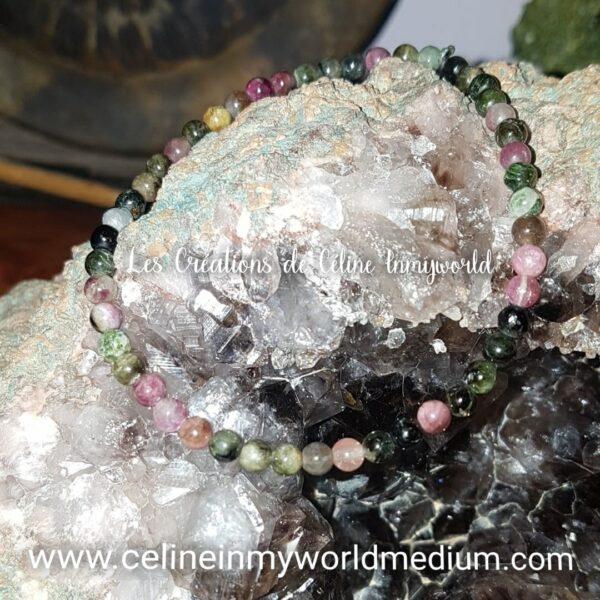 Bracelet pour aider à relier l'esprit, l'âme, la raison et le corps en Tourmaline Polychrome