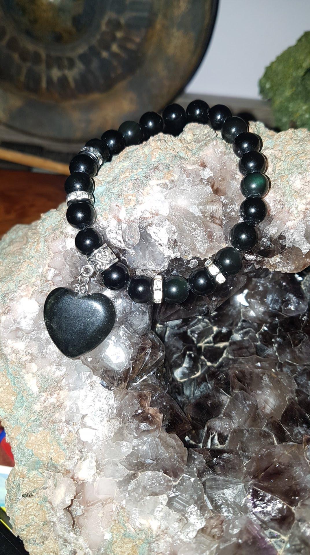 Bracelet pour l'ancrage en Obsidienne Arc-en-ciel avec Cœur