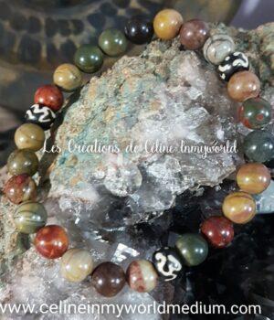 Bracelet pour la force créatrice en Jaspe multicolore et mantras tibétains