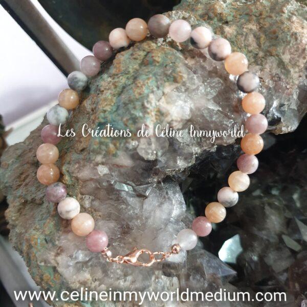 Bracelet pour la paix intérieure, en Lépidolite, Jaspe brun-beige et Héliolite