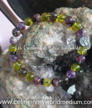 Bracelet pour le bien-être et la détente, en Quartz fumé, Olivine et Améthyste à inclusions de Goethite, perles de coco et arbre de vie
