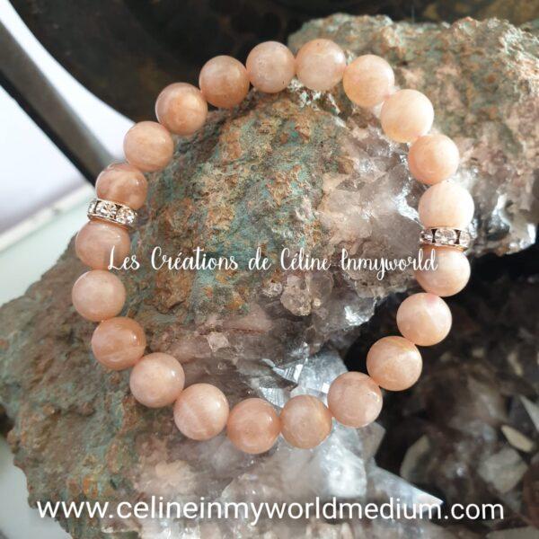 Bracelet seul en Héliolite contre la dépression couleur or rose