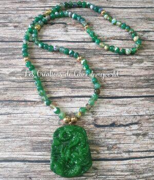 Collier pour le chakra du coeur et la chance en Jade, Agate à signature d'estomac et perles Bouddha en Hématite plaquée dorée