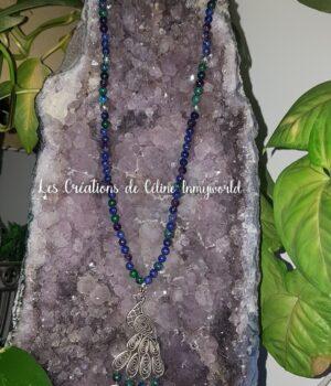 Collier sautoir en Améthyste, Lapis-lazuli, Azurite-malachite et pendentif Paon