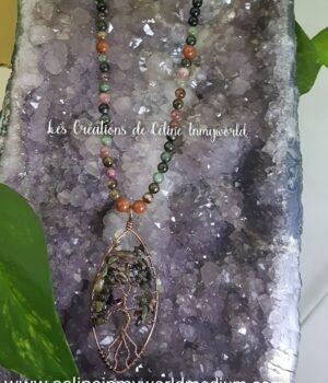 Collier sautoir en Tourmaline polychrome et Pierre de soleil avec pendentif Arbre de vie
