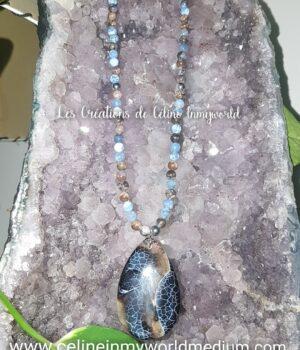 Collier sautoir en Vulcanite et Agate à signature d'inflammation, perles d'Hématite plaquée argenté et pendentif en Agate du Botswana