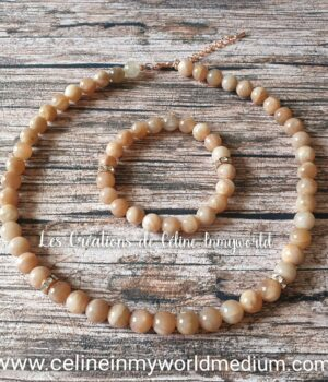 Parure collier et bracelet en Héliolite contre la dépression, avec fermoir mousqueton couleur or rose
