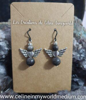 Boucles d'oreilles Angelots de protection en Obsidienne Argentée