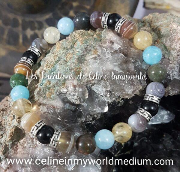 Bracelet Chemin de vie (personnalisé) en Agate à lamelles (Botswana), Agate indienne, Tourmaline noire, Aigue-marine et Citrine