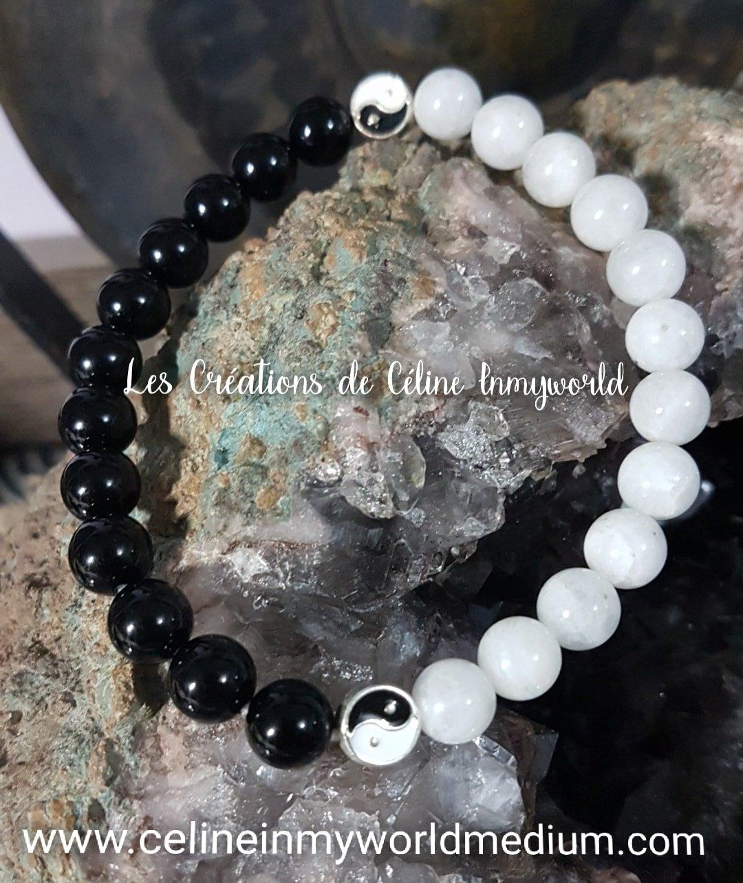 Bracelet Yin & Yang en Tourmaline noire et Pierre de Lune