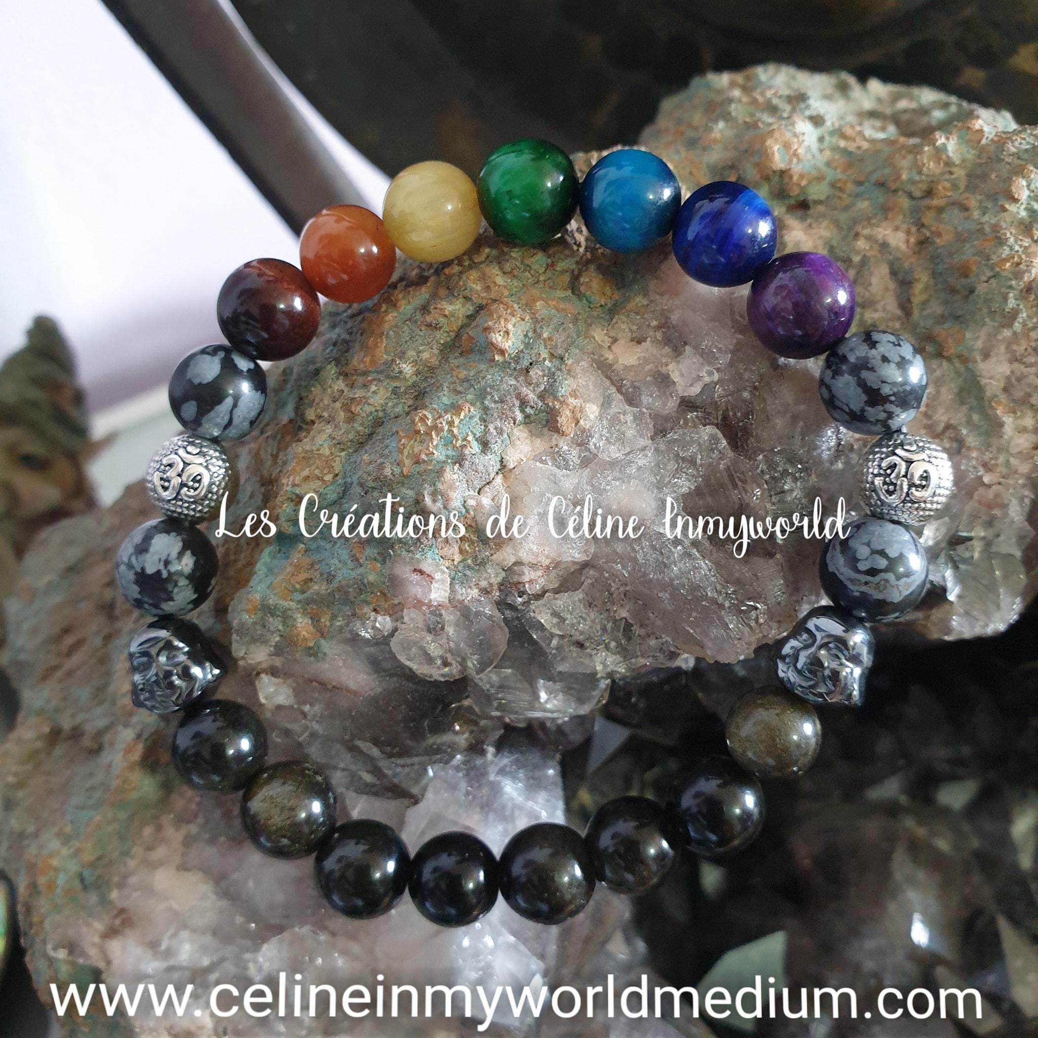Bracelet de protection 7 chakras en Oeil-de-tigre (teinté), Obsidienne flacons de neige et Obsidienne dorée, avec symbole Aum et Bouddha