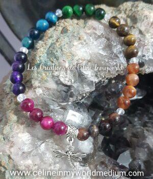 Bracelet de protection 7 chakras en Œil de taureau et Œil de tigre