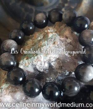 Bracelet de protection en Obsidienne argentée