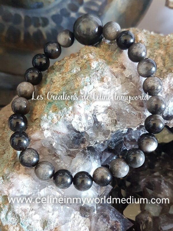Bracelet de protection en Obsidienne argentée version 2