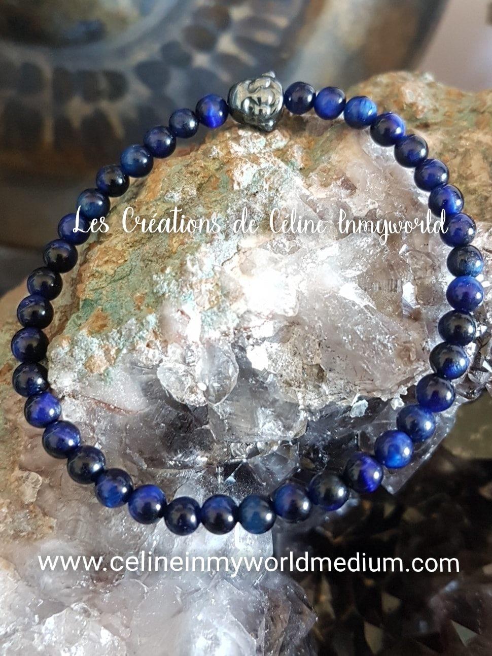 Bracelet de protection en oeil-de-faucon avec Bouddha en Hématite plaquée anthracite