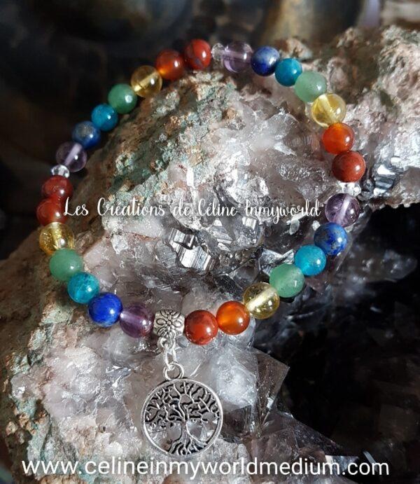 Bracelet des 7 Chakras avec arbre de vie