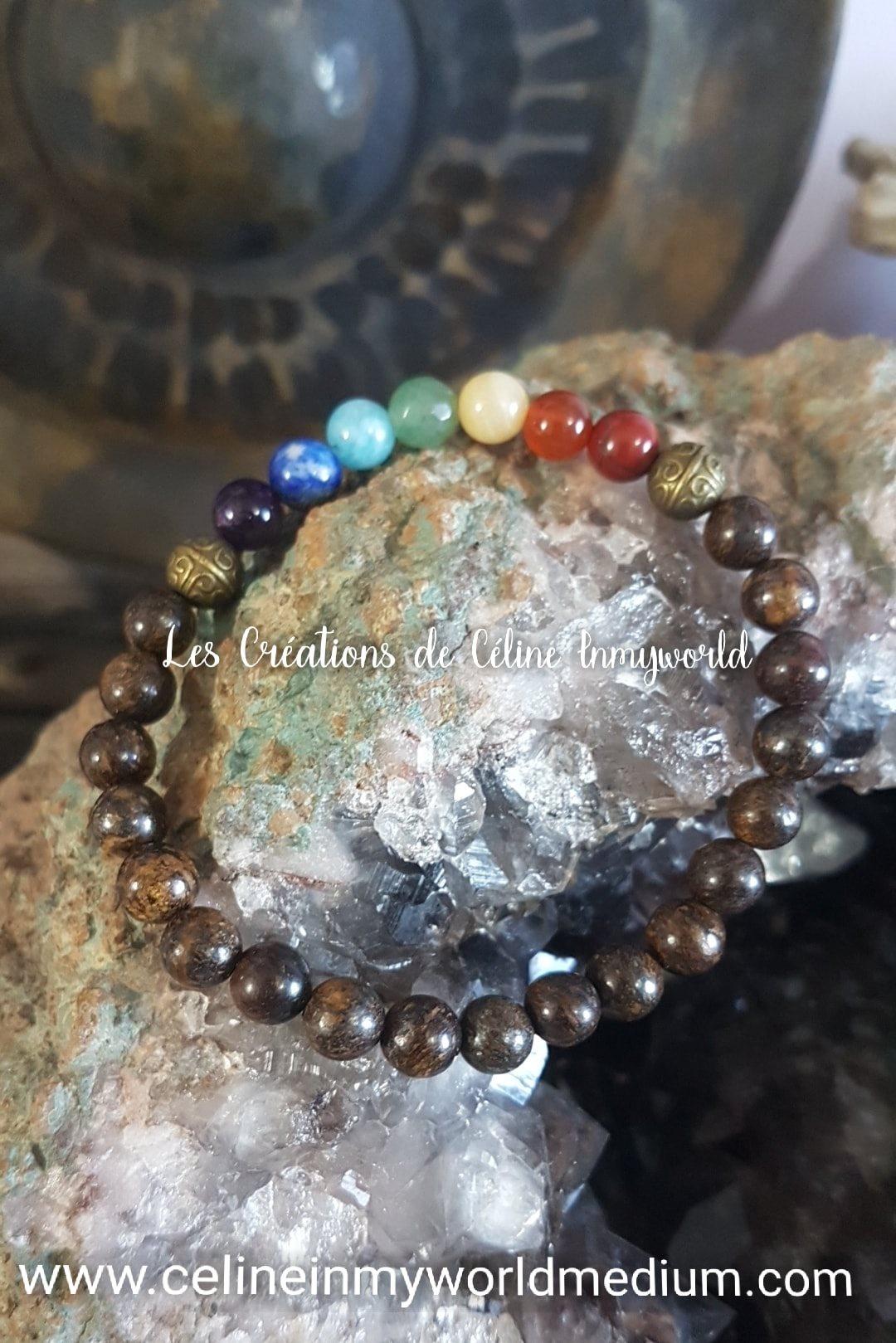 Bracelet des 7 chakras anti-stress en Bronzite