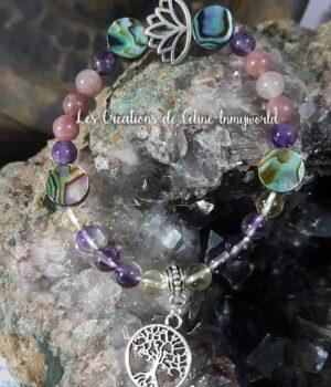 Bracelet en Abalone, Amétrine, Lépidolite et Améthyste avec arbre de vie et fleur de lotus