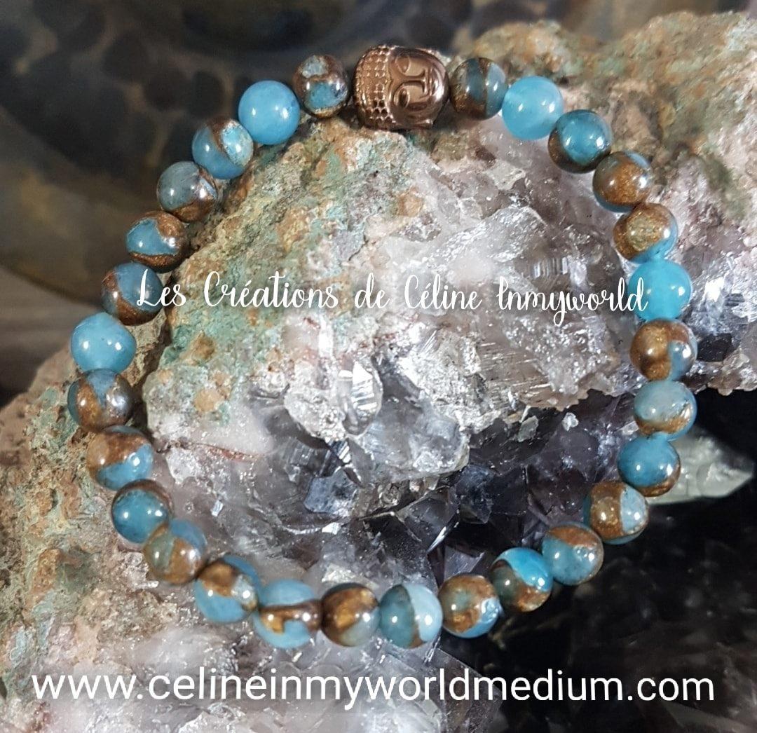 Bracelet en Apatite Blue Lagon avec Bouddha en Hématite plaquée bronze