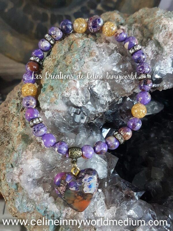 Bracelet en Jaspe Sédiments (et perles de feuilles d'or)