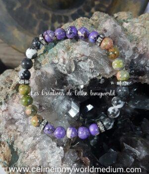 Bracelet en Jaspe sédiments, Marbre zèbre et Unakite