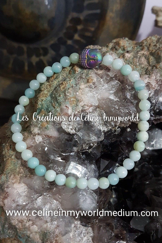 Bracelet en amazonite bleue avec Bouddha
