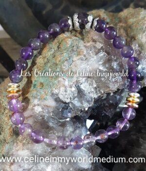 Bracelet en améthyste foncée et améthyste avec inclusions de goëthite et perles d'hématite plaquées couleur 3 or