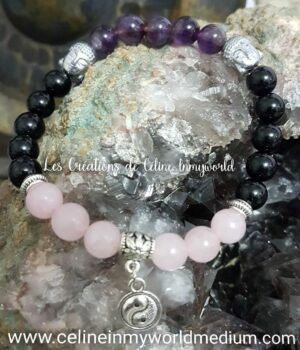 Bracelet en améthyste, tourmaline et quartz rose avec yin&yang et bouddha