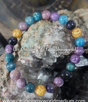 Bracelet en charoïte, apatite bleue et perles de feuilles d'or pour 5ème et 6ème chakras