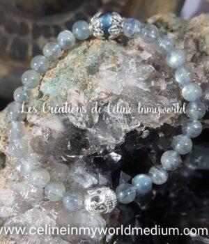 Bracelet en labradorite spectrolite avec Bouddha en hématite plaquée argenté