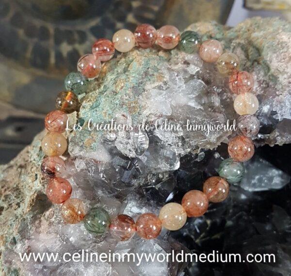 Bracelet en quartz rutile tricolore