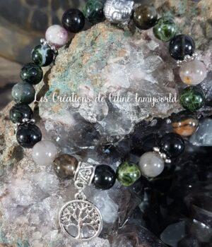 Bracelet en tourmaline polychrome avec Bouddha en Hématite plaquée argenté et arbre de vie