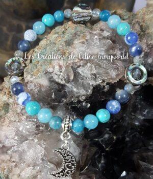 Bracelet personnalisé pour chakra de la gorge avec lune